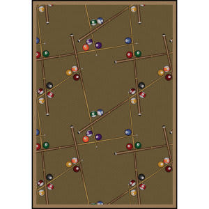 Joy Carpets Games People Play Snookered Dark Dust Area Rug