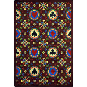 Joy Carpets Games People Play Stacked Deck Burgundy Area Rug