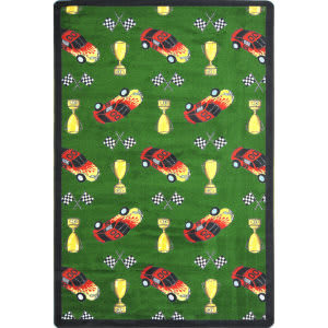 Joy Carpets Playful Patterns Start Your Engines Green Area Rug