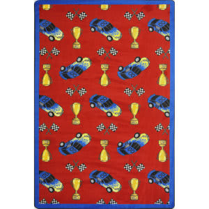 Joy Carpets Playful Patterns Start Your Engines Red Area Rug