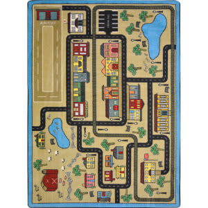 Joy Carpets Kid Essentials Tiny Town Sandstone Area Rug