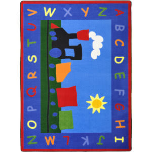 Joy Carpets Kid Essentials Tiny Train Multi Area Rug