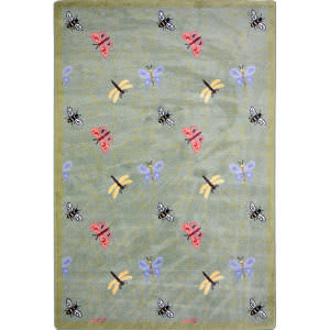 Joy Carpets Kaleidoscope Wing Dings Green Area Rug