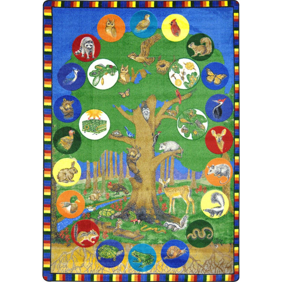 Joy Carpets Kid Essentials Tree Of Life Multi Area Rug #144577