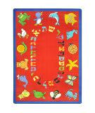 Joy Carpets Kid Essentials Abc Animals Hebrew Red Area Rug