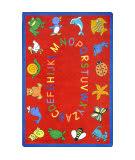 Joy Carpets Kid Essentials Abc Animals Red Area Rug