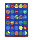 Joy Carpets Kid Essentials Alpha-Dots Multi Area Rug
