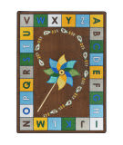 Joy Carpets Kid Essentials Alphabet Pinwheel Earthtone Area Rug