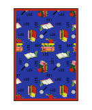 Joy Carpets Kid Essentials Bookworm Spanish Blue Area Rug