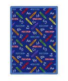 Joy Carpets Playful Patterns Crayons Blue Area Rug