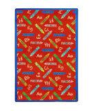 Joy Carpets Playful Patterns Crayons Red Area Rug