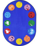 Joy Carpets Kid Essentials Emoji Edge Multi Area Rug