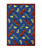 Joy Carpets Playful Patterns Hook And Ladder Blue Area Rug