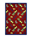 Joy Carpets Playful Patterns Hook And Ladder Red Area Rug