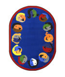 Joy Carpets Kid Essentials Joyful Faces Blue Area Rug
