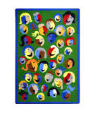 Joy Carpets Kid Essentials Joyful Faces Green Area Rug