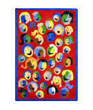 Joy Carpets Kid Essentials Joyful Faces Red Area Rug