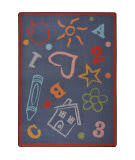 Joy Carpets Playful Patterns Kid's Art Chalkdust Area Rug