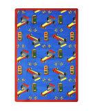Joy Carpets Playful Patterns Pit Stop Blue Area Rug