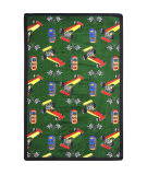 Joy Carpets Playful Patterns Pit Stop Green Area Rug