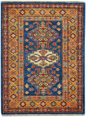 Kalaty Oak Pak Kazak 4541 Blue - Gold Area Rug