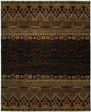 Famous Maker Artisan 100056 Black Rust Area Rug