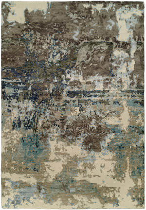 Famous Maker Onyx 100574 Abstract Blue - Grey Area Rug