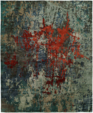 Famous Maker Jupiter 100078 Multi Blue - Scarlet Area Rug