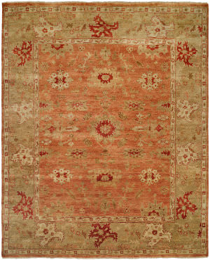 Famous Maker Oushak 100455 Terracotta - Light Green Area Rug