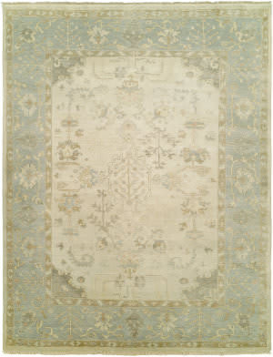 Famous Maker Oushak 100463 Ivory / Spa Blue Area Rug