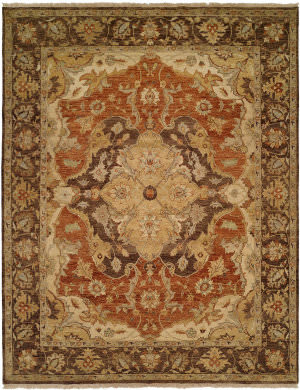 Famous Maker Pastire 100987 Rust - Ivory Area Rug