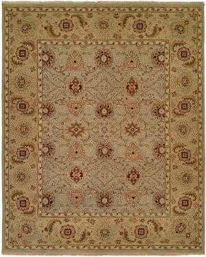 Famous Maker Soumak 100156 Light Blue - Light Gold Area Rug