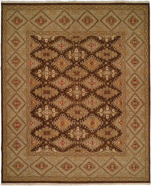 Kalaty Soumak Su-223 Brown - Green Area Rug