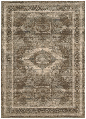 Karastan Titanium Volos Light Beige - Charcoal Area Rug