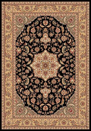 Kas Cambridge Kashan Medallion 7327 Black Beige Area Rug