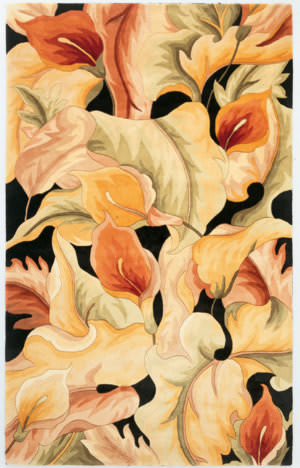 Kas Catalina Calla Lillies 759 Black Area Rug