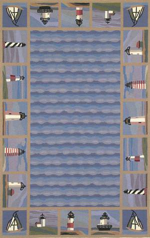 Kas Colonial Lighthouse Waves Blue 1802 Area Rug