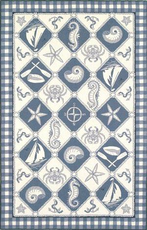 Kas Colonial Nautical Panel Blue-Ivory 1807 Area Rug