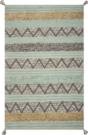Kas Hang Ten Malibu 853 Turquoise Area Rug