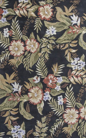 KAS Havana 2625 Black Wildflowers Area Rug