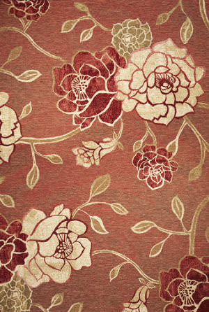 Kas Horizon 5708 Brick Red Flora Area Rug