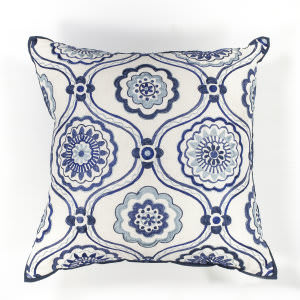 Kas Mosaic Pillow L113 Ivory - Blue