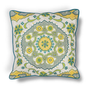 Kas Suzani Pillow L194 Blue - Green