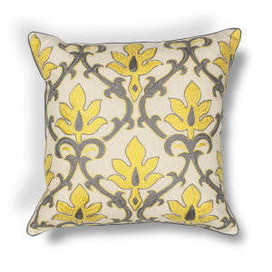 Kas Damask Pillow L196 Yellow - Grey