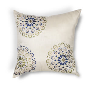 Kas Suzani Pillow L205 Ivory - Blue