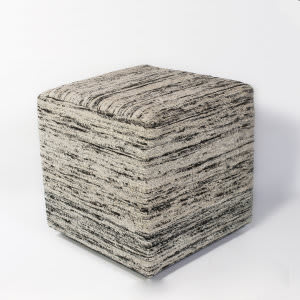 Kas Viscose Pouf F803 Black And White