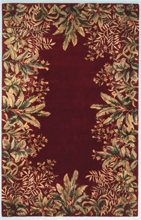 Kas Emerald Tropical Border 9017 Ruby Rug Studio