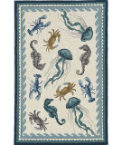 Kas Harbor 4204 Ivory - Teal Beach Life Area Rug