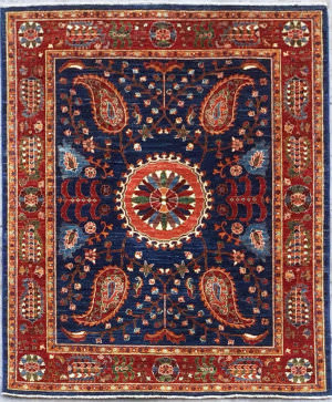 Kashee Vintage OAK Blue - Red Area Rug