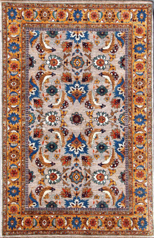 Kashee Tabriz Grey - Gold 5'9'' x 8'10'' Rug